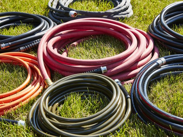 Picture of garden hoses of various colors and sizes